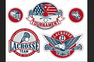 Set of vintage lacrosse labels