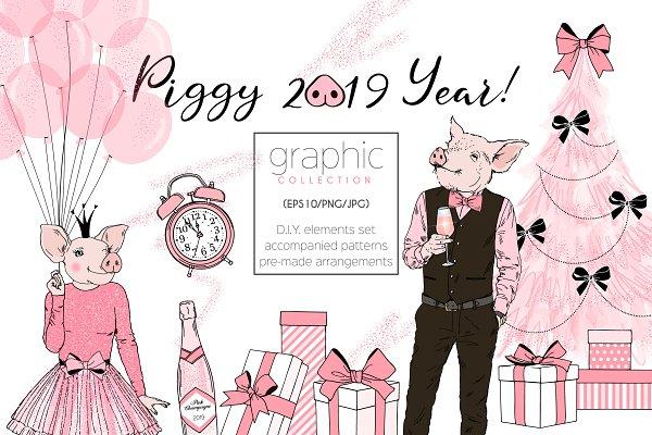 Piggy New Year graphic set
