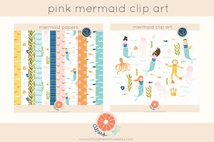 mermaid paper pack and clip art