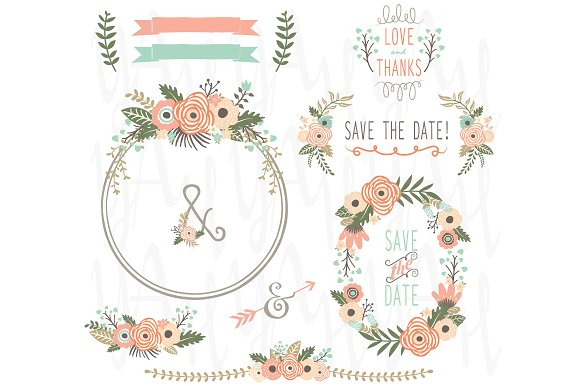 Vintage Rustic Flower Wreath Illustrations Creative Market