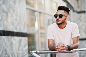 Stylish indian beard man at sunglass