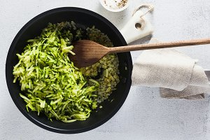 banner of cooking rice with zucchini