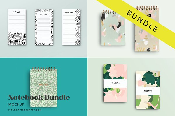 Product Mockups: Field Office Mockups - Notebook Mockup Bundle