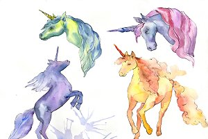 Cute unicorn horse PNG watercolor