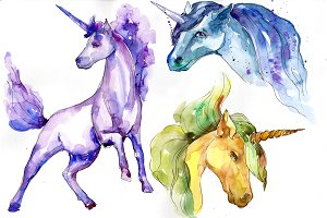 Cute colorful unicorn horses PNG set