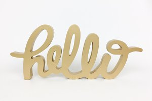 Hello script sign stock photo