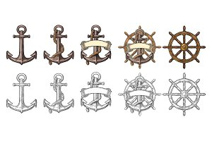 Anchor and wheel with ribbon