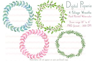 Printable Watercolor Foliage Wreaths