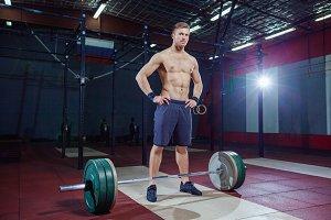 portrait of a muscular man workout