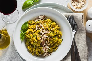 banner of risotto with zucchini and