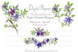 Watercolor Purple Clematis Bouquets