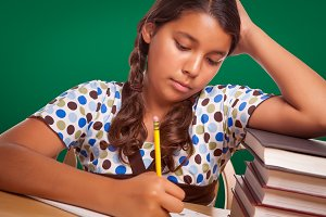 Hispanic Girl Student with Pencil an