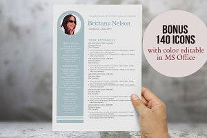 Unique bar 3 in 1 Word resume