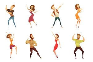 Dancing people funny cartoon set