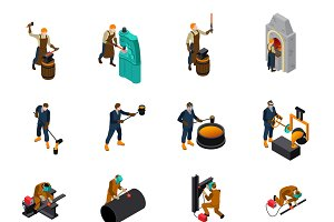 Metalworking tools isometric icons