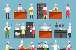 Professional cooking icons set