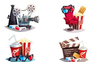 Set of 3d cinema design concepts