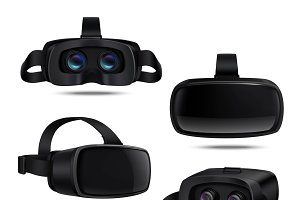 Realistic black vr headsets
