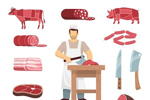 Meat products colored icons set