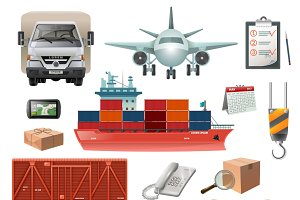 Logistics elements icons set