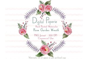 Watercolor Rose Garden Wreath
