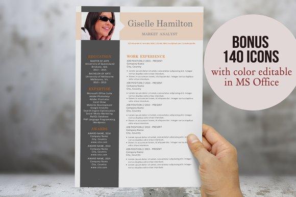 3 in 1 photo Word modern resume