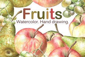 Watercolor fruits. Hand drawing.