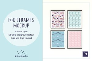 Four Frames on Wall Mockup