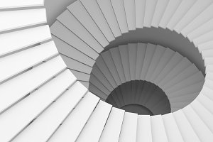 Structure of white spiral staircase