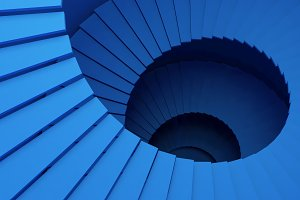 Structure of blue spiral staircase o