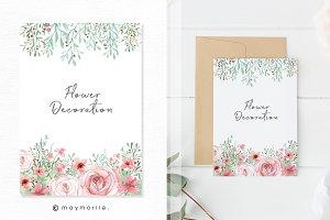 Floral Graphic Wedding Invitation