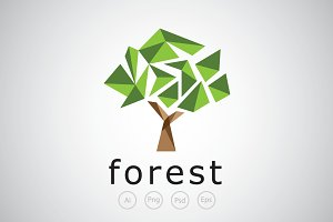 Polygon Glass Tree Logo Template