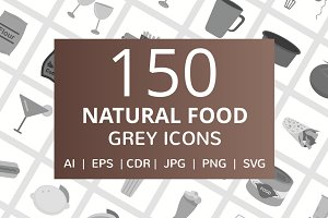 150 Natural Food Greyscale Icons