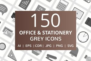 150 Office & Stationery Grey Icons