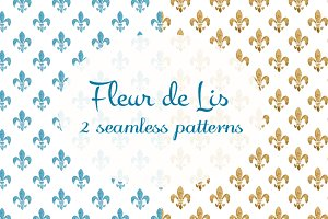 2 watercolor Fleur de Lis patterns
