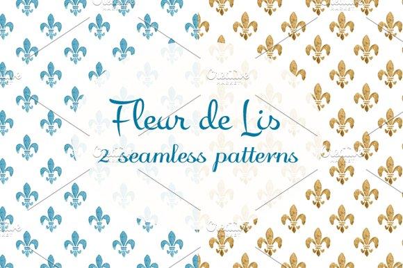 2 watercolor Fleur de Lis patterns in Patterns