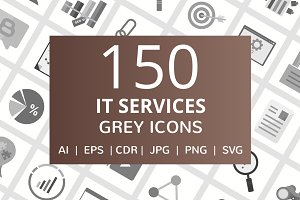 150 IT Services Greyscale Icons