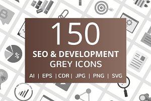 150 SEO & Development Grey Icons