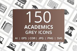 150 Academics Greyscale Icons
