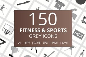 150 Fitness & Sports Greyscale Icons