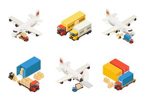 Isometric Air Logistics Elements Set