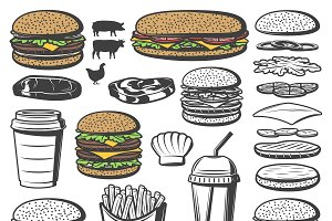 Vintage Burger Elements Set