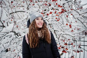 Portrait of girl at winter snowy day