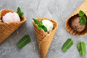 set of ice cream scoops of different