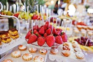 Strawberries at wedding reception ta