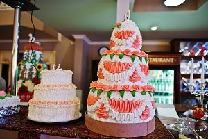 Two wedding cakes at the bar of rest