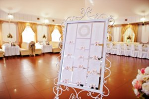 Blur photo of guest wedding board at