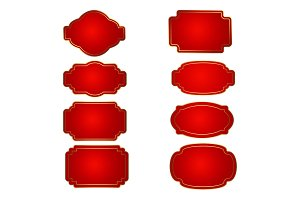 Set of red badge shape. Trophy and
