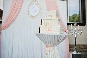 Box for money against wedding arch a