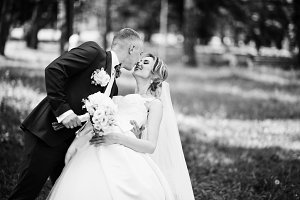 Fashionable kissing wedding couple h